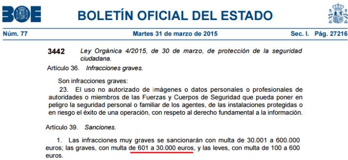 Ley Seguridad Ciudadana. 30000 euros